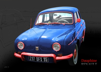 Renault Dauphine in tricolore-bleu 02, France