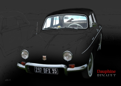 Renault Dauphine in black background, France