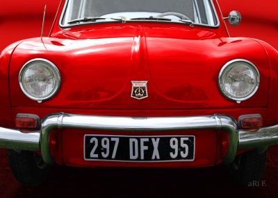 Renault Dauphine Poster in red & red