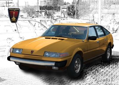 Rover 3500 Poster in gold & blackwhite