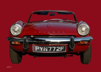 Triumph Spitfire Mk3 Poster in red & red