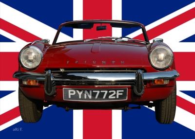 Triumph Spitfire Mk3 Poster mit Union Jack (Originalfoto)
