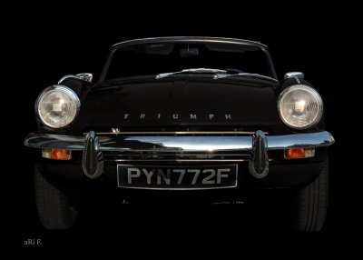 Triumph Spitfire Mk3 Poster in black front view