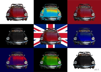 Triumph Spitfire Mk3 with Union Jack in mixed minimalism
