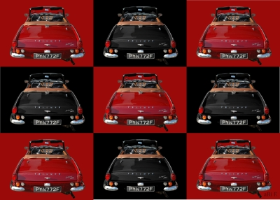 Triumph Spitfire Mk3 Poster in back view collage (Originalfarbe)