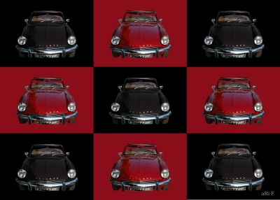Triumph Spitfire Mk3 in black & red rear view mix
