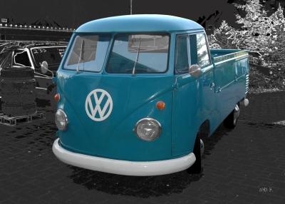 VW Typ 2 T1 Bulli Pritschenwagen Poster in Originalfarbe