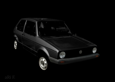 VW Golf 1 Poster in dark black