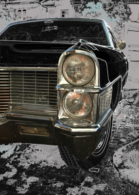 Cadillac DeVille Cabrio Poster in black Frontdetail