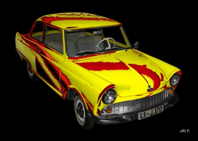 DKW Junior in red & yellow 02
