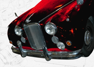 Jaguar Mark VII Poster in white & redblack