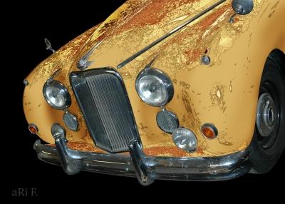Jaguar Mark VII Art Car Poster in black & burlywood