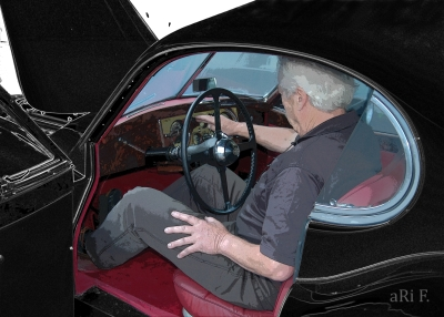 Jaguar XK 120 FHC Poster with car Mechanic