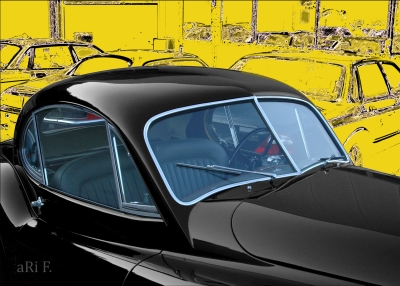 Jaguar XK 120 FHC Poster in black & yellow