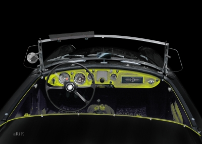 MGA 1600 Roadster in black & yellow Interieur