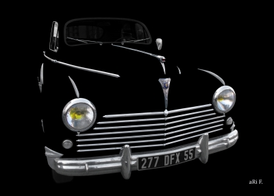 Peugeot 203 Poster in black & only chrome