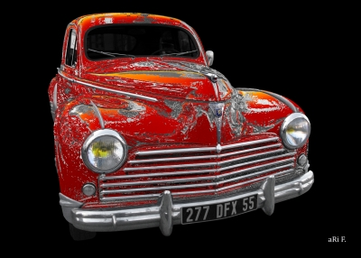 Peugeot 203 Poster in black & silver-red