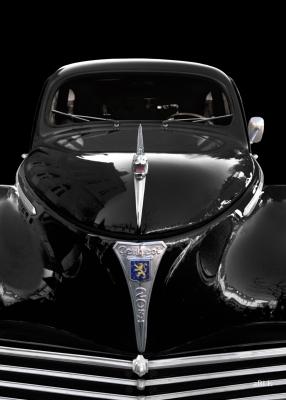 Peugeot 203 Poster in black & black front