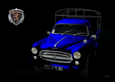 Peugeot 403 Camion Poster in black & blue