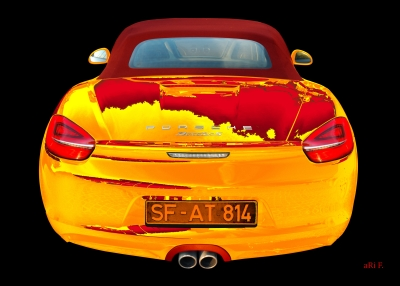 Porsche Boxster S Poster in yellow & red