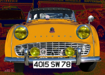 Triumph TR3 Poster in yellow & red