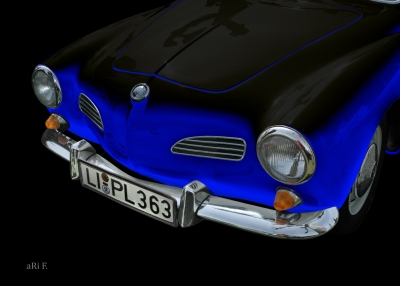 VW Karmann Ghia Typ 14 Poster in blue & black