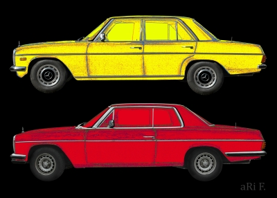 Poster W114 Mercedes-Benz /8 Limo & Coupé in yellow & red