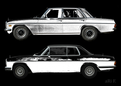 Poster W114 Mercedes-Benz /8 Limo & Coupé in black & black-grey