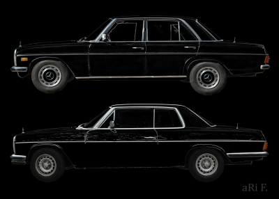 W114 Mercedes-Benz /8 Limo & Coupé in black & black