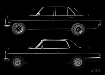 Poster Mercedes-Benz Strich-8 Limo & Coupé in black & black (only chrome)