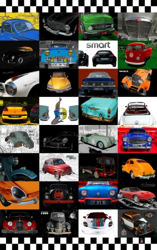 OPH-01 Oldtimer Poster mit 32 Classic Cars