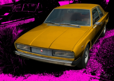 Fiat 130 Coupé Poster in cyan & gold