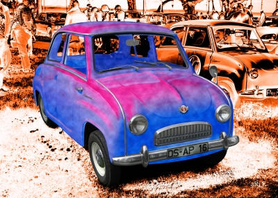 Goggomobil T in brown & red-blue mix