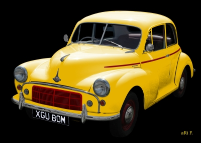 Morris Minor in black & yellow minimal