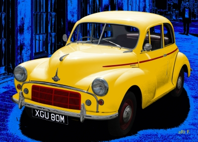 Morris Minor in blue & yellow