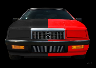 Chrysler LeBaron Convertible Poster in black-red mix 01