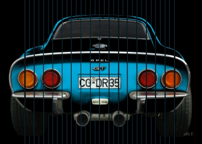 Opel GT in black & blue with stripes 01