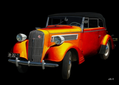 Opel Super 6 Cabriolet in black & orange by aRi F.
