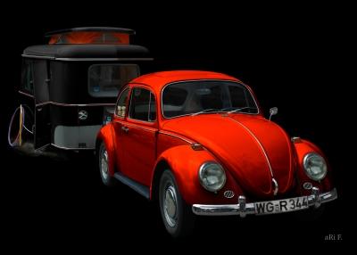 VW 1300 in black & redorange mit Eriba Familia Wohnwagen