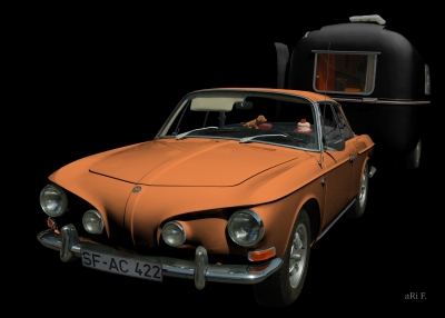 VW Karmann-Ghia Typ 34 Poster in black & copper 01