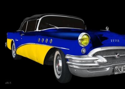 Buick Century Convertible in blue & yellow Poster for sale