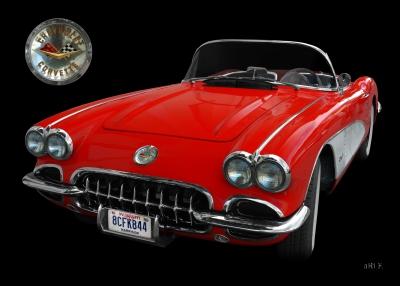 Chevrolet Corvette C1 Serie 2 Poster in black & red (Originalfarbe mit Logo)