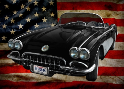 Corvette C1 Convertible with US flag (1958-1961)