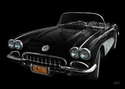 Corvette C1 Poster in black & black