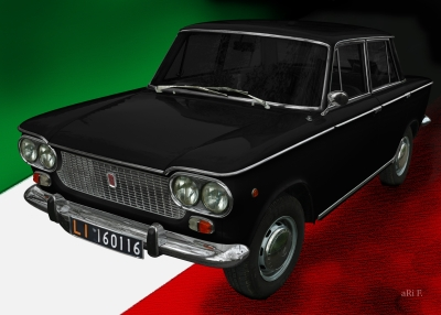 Fiat 1500 in black & italian flag