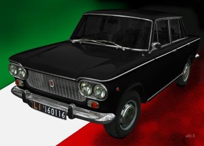 Fiat 1500 Poster in black & italian flag