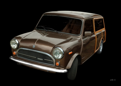 Innocenti Mini 850 Traveller Woody Poster in Originalfarbe