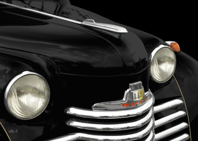 Opel Olympia in black, Frontdetail