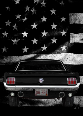 Ford Mustang 1 Poster in schwarz-weiß mit US flag (1964-1973)
