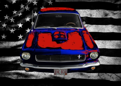 Ford Mustang 1 Poster mit US-Flagge